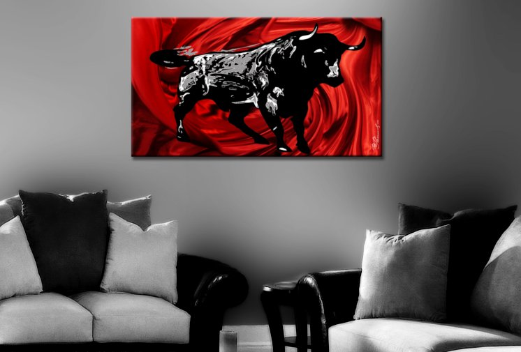 stier bild auf leinwand bilder corrida 100x55cm bilder ebay. Black Bedroom Furniture Sets. Home Design Ideas