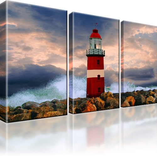 leuchtturm meer landschaft bild 3 bilder leinwand ebay. Black Bedroom Furniture Sets. Home Design Ideas