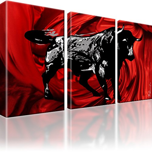 xxl stier bild auf leinwand 3 bilder kunstdruck ebay. Black Bedroom Furniture Sets. Home Design Ideas