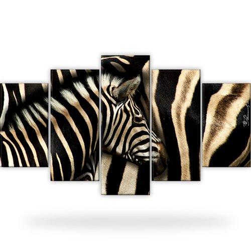 zebra afrika tiere bild bilder leinwand wandbild kunstdruck 5 teilig ebay. Black Bedroom Furniture Sets. Home Design Ideas