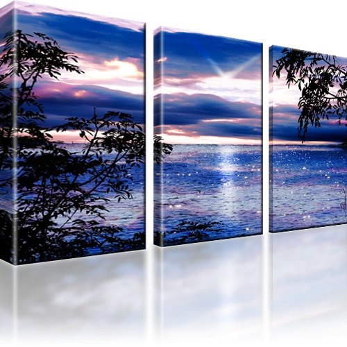 sonnenuntergang meer natur bild 3 teilig bilder wandbild kunstdruck ebay. Black Bedroom Furniture Sets. Home Design Ideas
